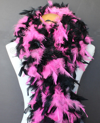 80 Grams Hot Pink/Black Mix Chandelle Feather Boa