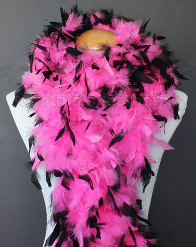 80 Grams Hot Pink With Black Tips Chandelle Feather Boa