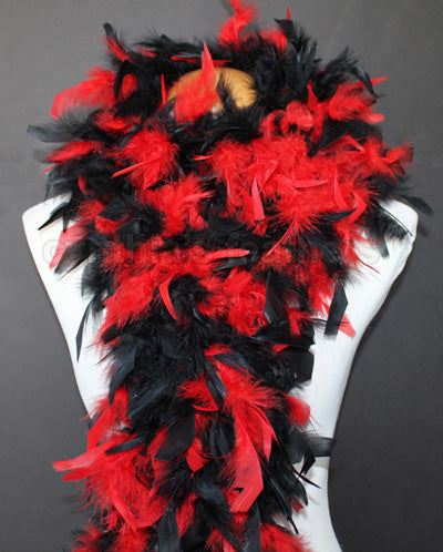 80 Grams Red/Black Mix Chandelle Feather Boa
