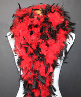 80 Grams Red With Black Tips Chandelle Feather Boa