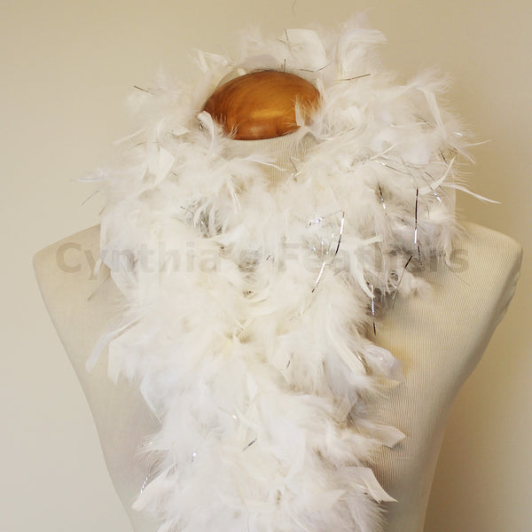 80 Grams White with Silver Tinsel Chandelle Feather Boa