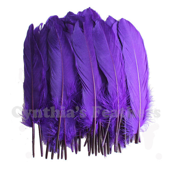 Turkey Feathers, Purple Turkey Round Quill Feathers 6-8 inches 50 Pieces SKU: 6A11