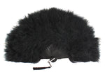"Feather Fan, Black Marabou Feather Fan 11"" x 20"""