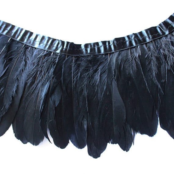 Goose Feather Trim Black Goose Nagoire and Satinettes Feather Trim 1 Yard SKU: 7I12