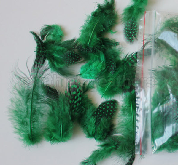 "12g (0.42oz) Emerald Green 1~4"" Guinea Hen Plumage Feathers"