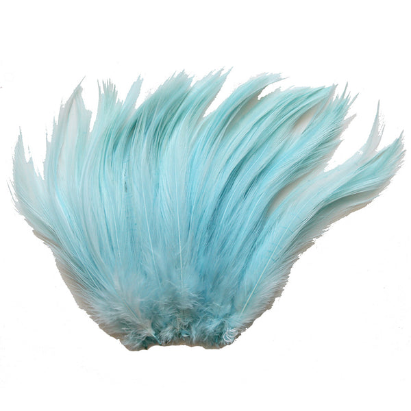 "5-7"" Aqua Blue Rooster Hackle Feathers for Crafting, Headpiece,  7.5 Grams"
