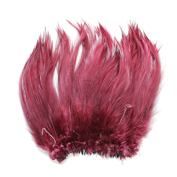 "5-7"" Burgundy Rooster Hackle Feathers for Crafting, Headpiece,  7.5 Grams"