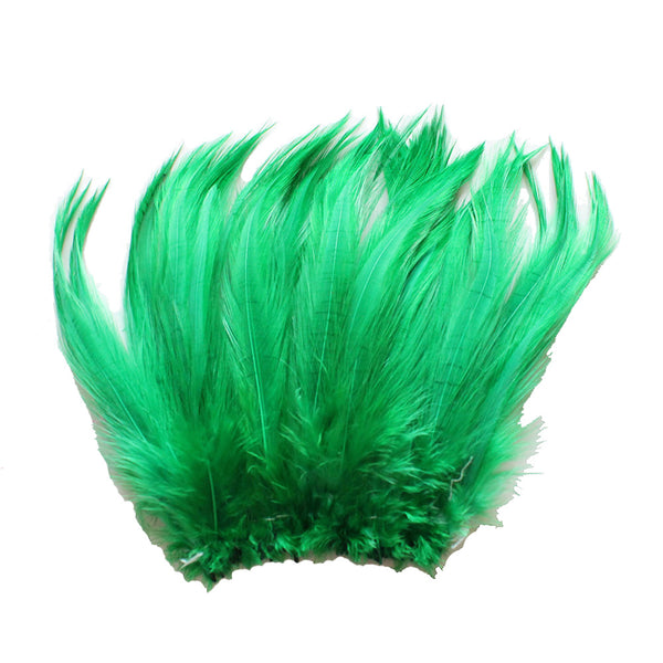 "5-7"" Emerald Green Rooster Hackle Feathers for Crafting, Headpiece,  7.5 Grams"