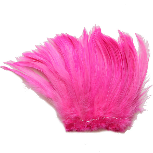 "5-7"" Hot Pink Rooster Hackle Feathers for Crafting, Headpiece,  7.5 Grams"