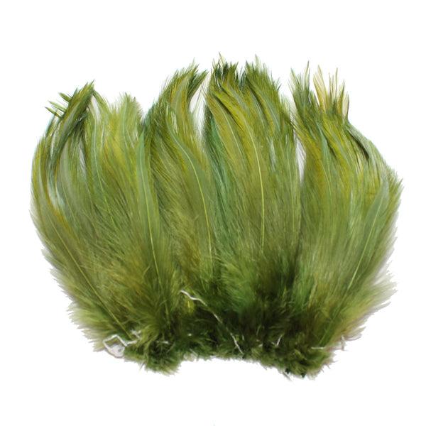 "5-7"" Olive Rooster Hackle Feathers for Crafting, Headpiece,  7.5 Grams"