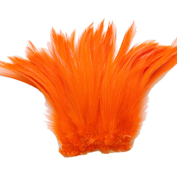 "5-7"" Orange Rooster Hackle Feathers for Crafting, Headpiece,  7.5 Grams"
