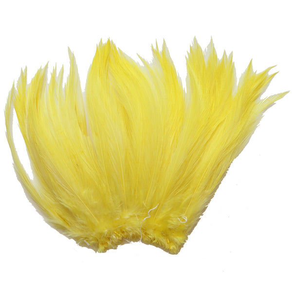 "5-7"" Yellow Rooster Hackle Feathers for Crafting, Headpiece,  7.5 Grams"