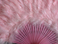 "Feather Fan, Baby Pink Marabou Feather Fan 11"" x 20"""