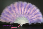"Feather Fan, Baby Pink/Lavender Marabou Feather Fan 11"" x 20"""