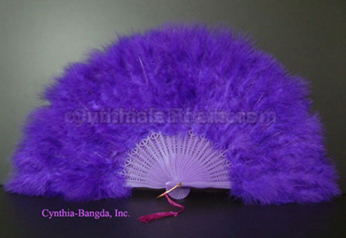 "Feather Fan, Purple Marabou Feather Fan 11"" x 20"""