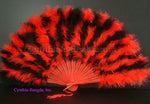 "Feather Fan, Red/Black Marabou Feather Fan 11"" x 20"""