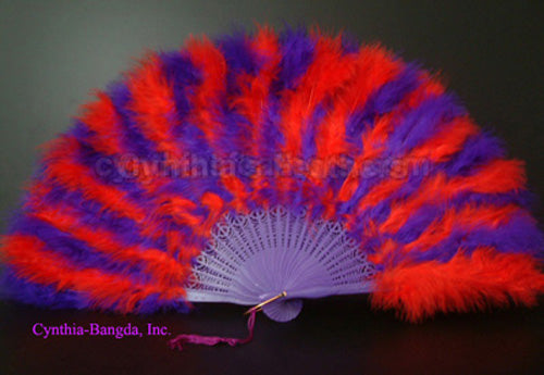 "Feather Fan, Red/Purple Marabou Feather Fan 11"" x 20"""