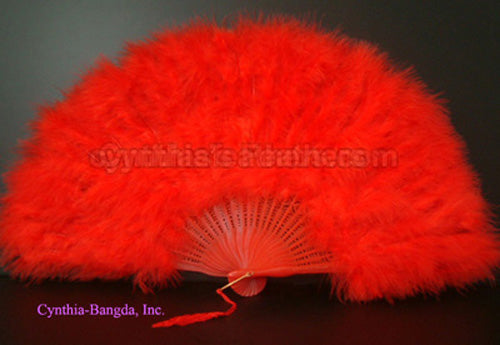 "Feather Fan, Red Marabou Feather Fan 11"" x 20"""
