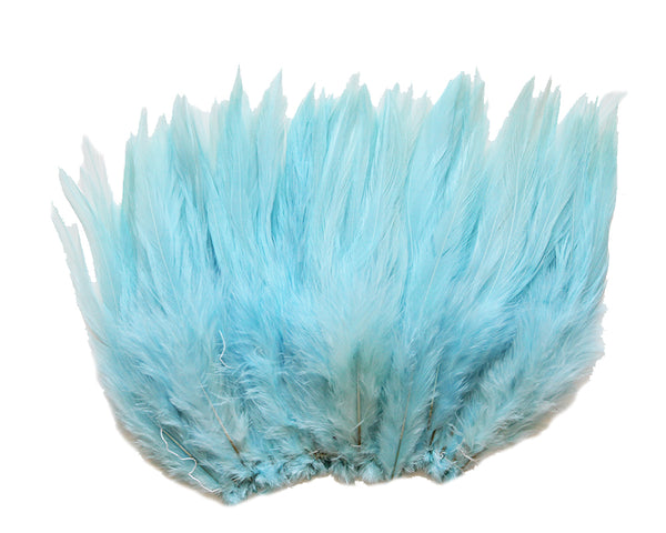 "5-7"" Aqua Blue Rooster Saddle Feathers for Crafting, Headpiece,  ~9g, 0.32Oz"