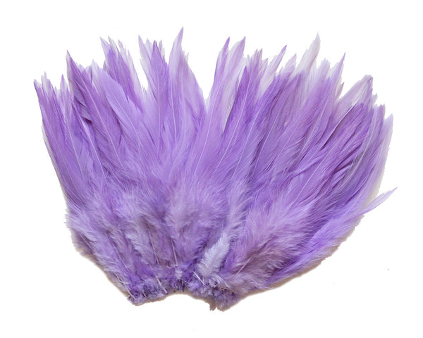 "5-7"" Lavender Rooster Saddle Feathers for Crafting, Headpiece,  ~9g, 0.32Oz"