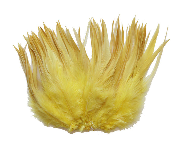 "5-7"" Yellow Rooster Saddle Feathers for Crafting, Headpiece,  ~9g, 0.32Oz"