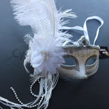 Venetian Mask, White Venetian Ostrich Feather Masquerade Mask 5D6B SKU: 6E41