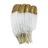 Turkey Feathers, White with metallic gold spray paint Turkey Round Quill Feathers 10-12 inches 20 Pieces