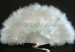 "Feather Fan, White Marabou Feather Fan 11"" x 20"""