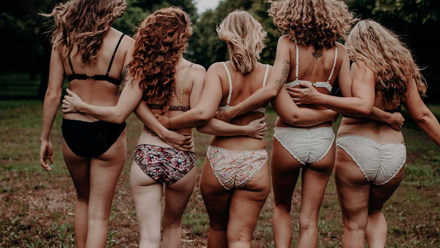 group of women in all shapes and sizes in cotton underwear