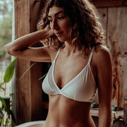 model in cotton bralette