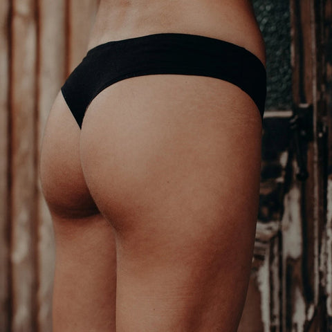 black g string thong, organic cotton, black underwear, cotton