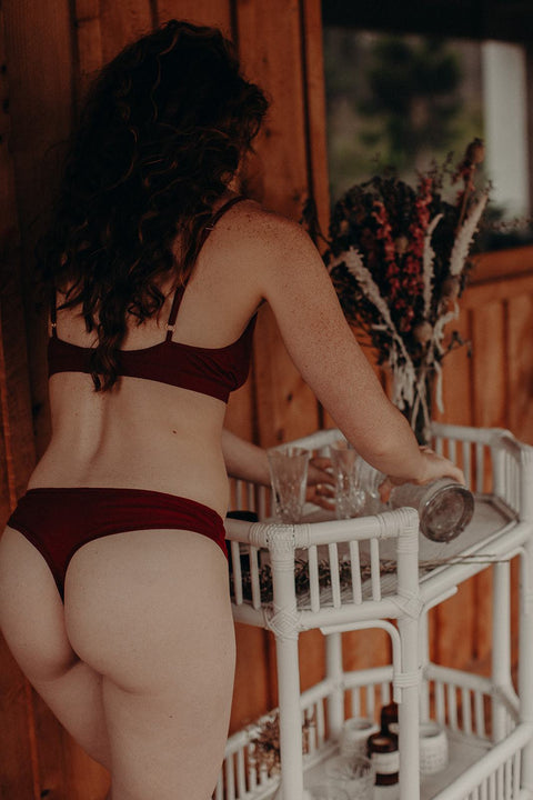 100% organic cotton thong in garnet - Knickers- Eco Intimates