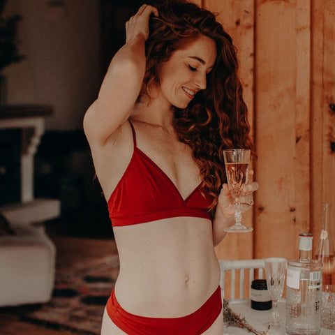 soft cup organic cotton bralette on model