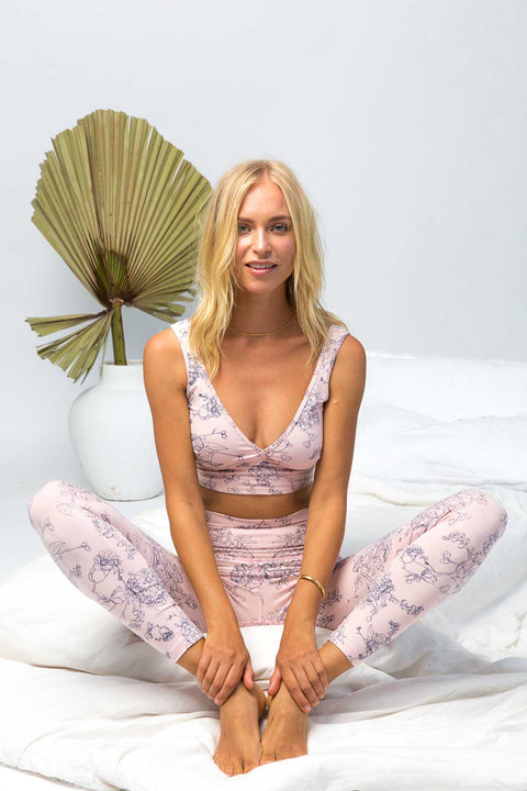 model wearing pink yoga bra in organic cotton, yoga bra, yoga top,