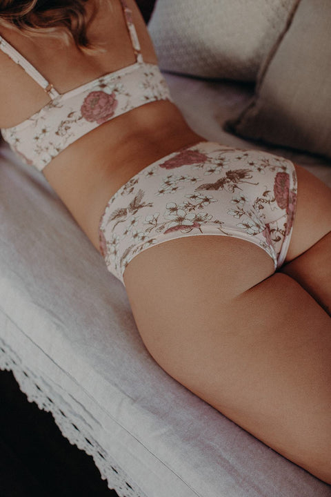 back view of floral bra