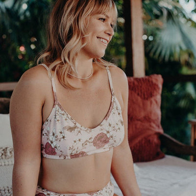 floral organic cotton bra