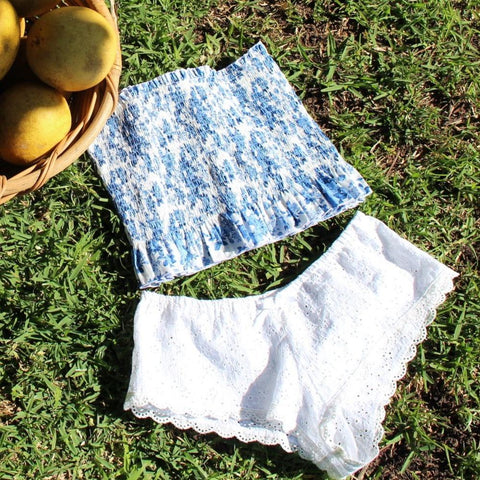 blue and white floral cotton bandeau and french knickers