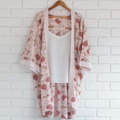 front view of organic cotton kimono in floral print