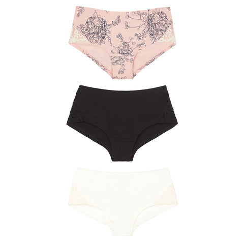 organic cotton boy leg knickers in black, pink white,