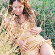 model wearing organic cotton slip dress in dandelion yellow, cotton clothing, organic cotton sleepwear,