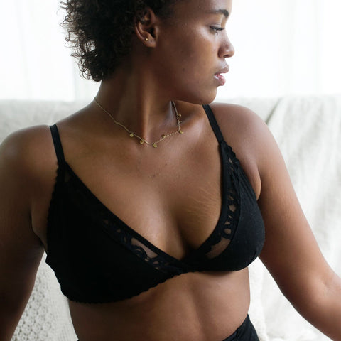 plus size model in organic cotton soft cup bralette in black , supportive soft cup bra, cotton underwear, cotton lingerie