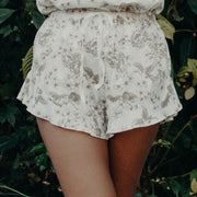 model wearing comfortable shorts in organic cotton