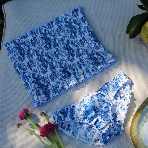 blue and white floral cotton bandeau