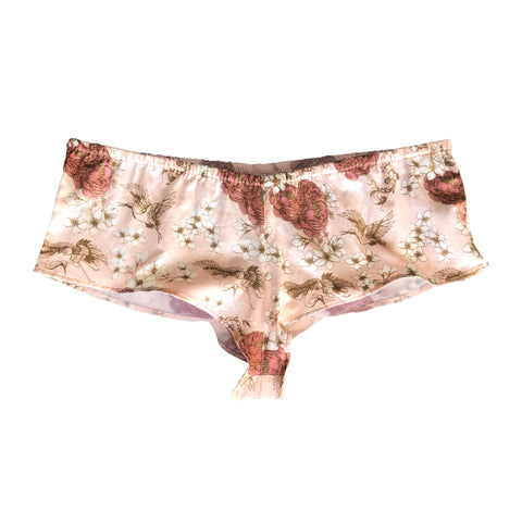 silk cotton french style knickers with floral chinoiserie print