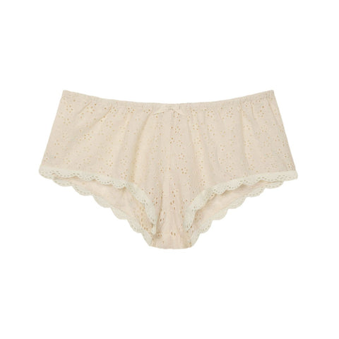 cotton and lace french knickers in natural