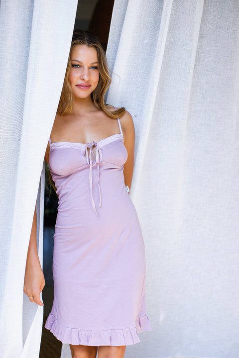 Model wearing organic cotton slip dress in lavender, cotton clothing, organic cotton sleepwear,