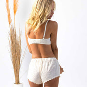 model wearing cotton broderie anglaise bralette and bed shorts boxers, cotton sleepwear, 100% cotton bralette