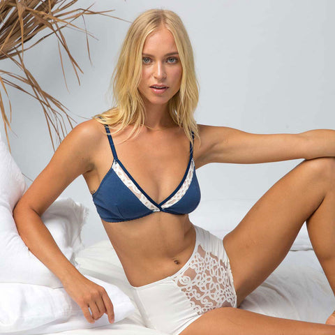 model wearing organic cotton soft cup bralette in blue, supportive soft cup bra, cotton underwear, cotton lingerie