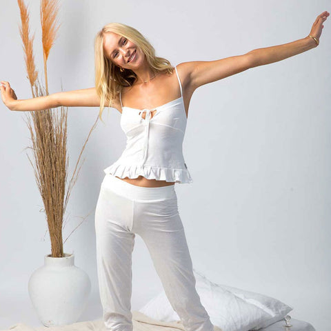organic cotton lounge pants in a natural colour, organic cotton camisole,