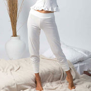 model wearing organic cotton lounge pants, organic cotton lounge wear, organic cotton clothing